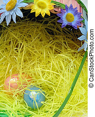 Easter Eggs - Shot of a traditional Easter eggs, laying on a...