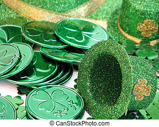 St Patricks Day - Shot of several green coins with a...