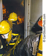 Through front door - , Firefighters going through the front...