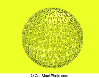 Binary Yellow - Binary sphere on yellow background