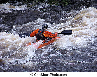 against the waves - white water kayaking