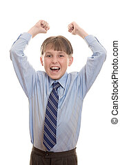 Yeah - Enthusiastic or excited boy in uniform
