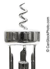 Corkscrew Detail - Closeup on metal corkscrew on white...