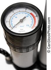 Air Pressure Gauge - Close view on an air pressure gauge of...