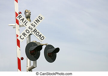 Railroad Crossing - Railroad crossing sign, barrier, and...
