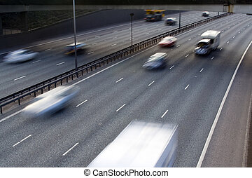 Motorway Traffic - traffic motion blurred on a motorway
