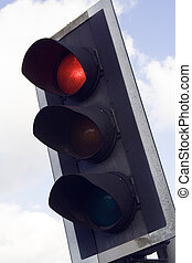 Red Traffic Light - stop light showing red