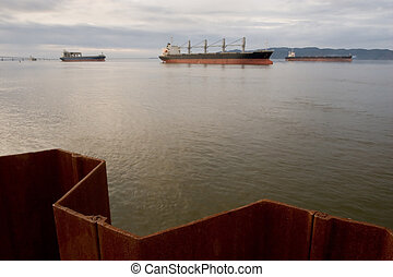 Cargo Ships, Columbia River - Photo of cargo ships docked in...
