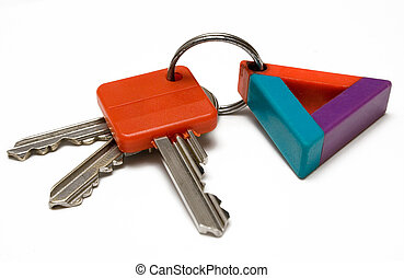 Keys w/ Colorful Tag - Three keys with tag against white...