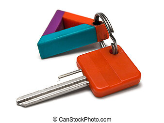 Key w Colorful Tag - Key with triangular tag against white...