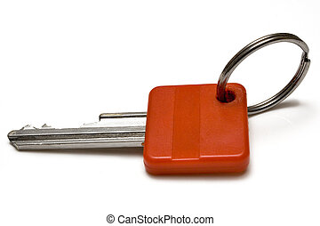 Single Red Key - Key with space for text against white...