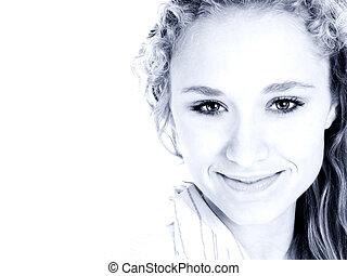 Teen Girl Blue Smile
