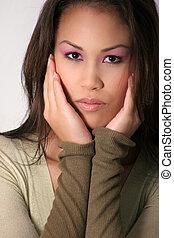 beautiful asian face - beautiful asian model with pink eye...