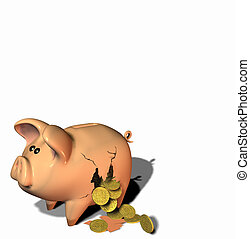 Breakin the Bank - Gold coins falling out of a broken piggy...