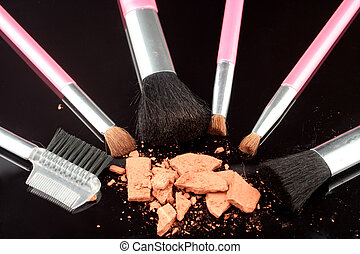 bronzer and brushes - broken up facial bronzer powder and...