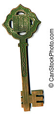 Antique bronze key. Very big. Isolated on white.