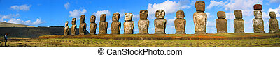 Sentinels - Moai standing on Easter Island
