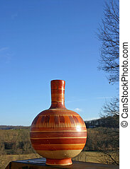 pottery and blue sky - Pottery with blue landscape