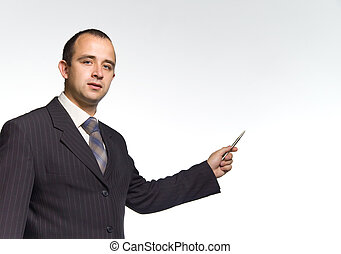 businessman with a pen in a hand