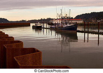 Fishing Boats, Sunset - Photo of a fishing boats at sunset.