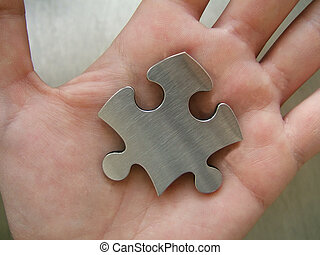 Solution in hand - Jigsaw puzzle piece in human hand