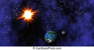 Earth. moon and sun - Fictional image of the Earth, moon and...