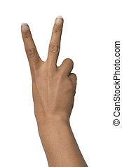 V sign on white background