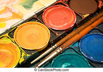Watercolors (Close) - Close view on a grungy box of...