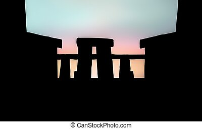 Stonehenge silhouette with sunset