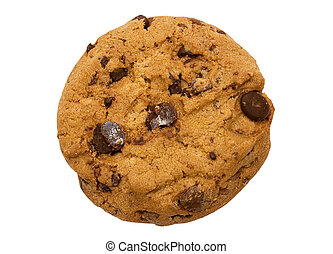 Chocolate Chip - Chocolate chip cookie isolated on white....