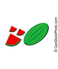 Watermelon,whole and pieces,over white background,...