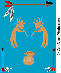 Arrows border, vessel, and two kokopelli in the center,over...