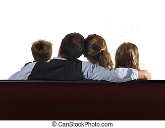 Family and screen - A family of four watching a blank screen