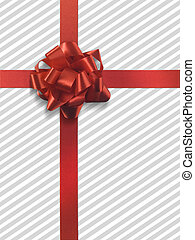 Present 4 no tag grey stripes - Red ribbon over grey and...