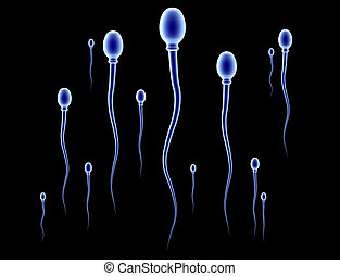 Sperm Race - Sperm Cells. High res 3D render.