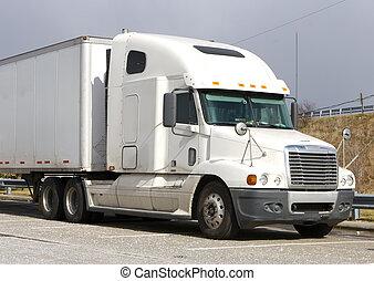 White Semi Truck - White Tractor Trailer