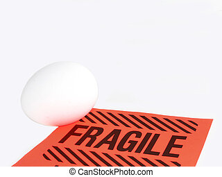 Fragile sign and egg