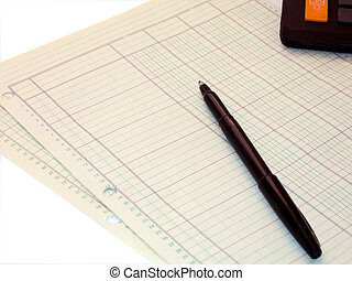 Accounting - Ledger paper, pen and calculator