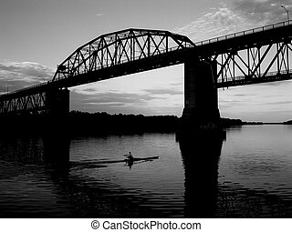 river rower - single rower on Saint John River in...