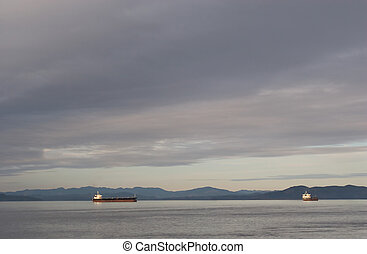 Cargo Ships, Columbia River - Photo of two cargo ships...