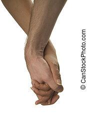 Holding hands on white background