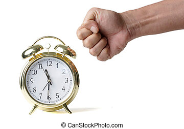 Punching the clock - Mans fist about to hit a clock showing...