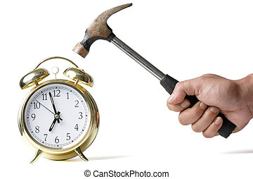 No work today - Hand holding a hammer about to hit the alarm...