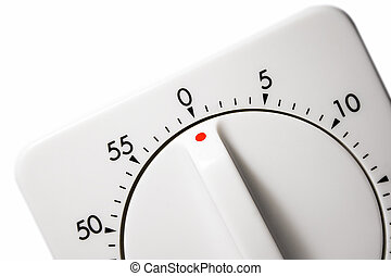Egg Timer - White plastic egg timer isolated against white