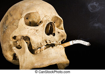 Smoking Kills Side - A human skull smoking