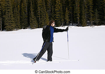 Cross Country Skiing - A person cross country-skiing in...