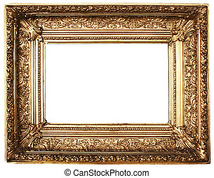Picture Frame Gold - Ornamented, gold plated empty picture...