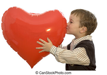 Boy Kissing Heart - A Lovely picture of a 5-year old boy...