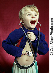 young researcher - a little boy with the sthetoscope
