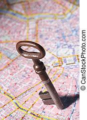 honorary citizen - Ehrenbuerger - key flying over roadmap -...